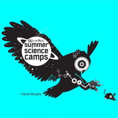 Great Horned Owl Robotic T-Shirt Design, social media ad design and logo for robotics camp.