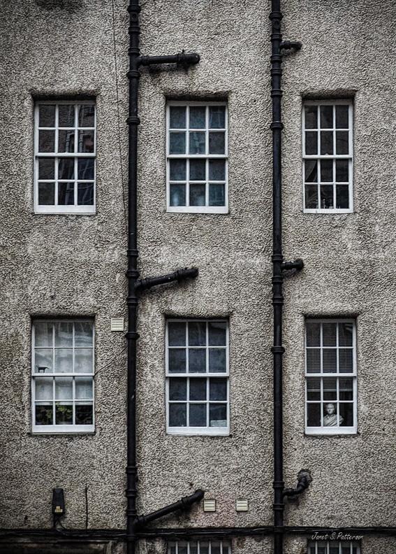 architecture, plumbing, windows, Edinburgh, pattern