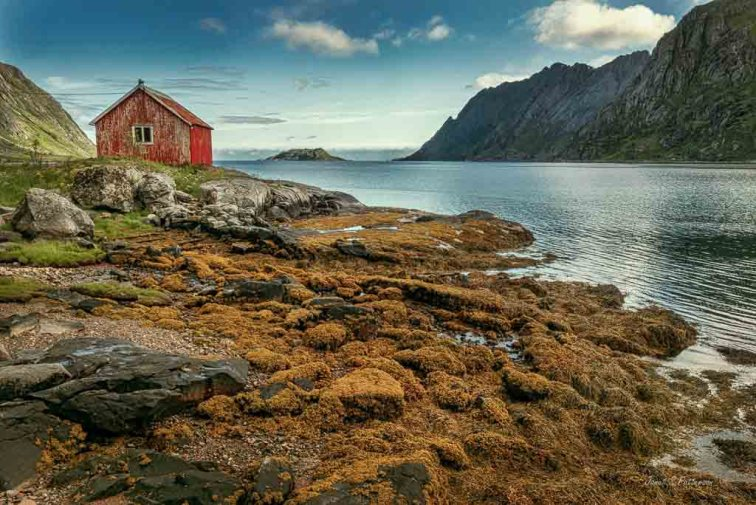 seascape, building, landscape, mountains, Norway, 2019