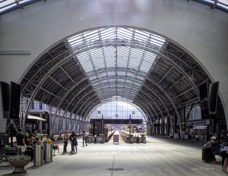 Architecture, train station, Bergen, Norway, people