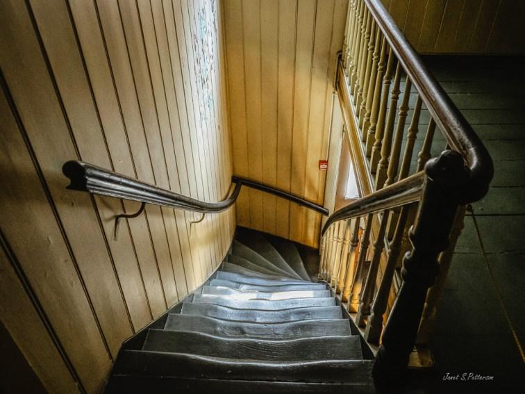 stairs, wood, worn, St. Jorgen's, leprosy hospital, Bergen, Norway