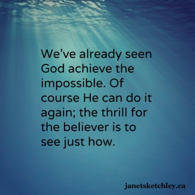 We've already seen God achieve the impossible. Of course He can do it again; the thrill for the believer is to see just how.