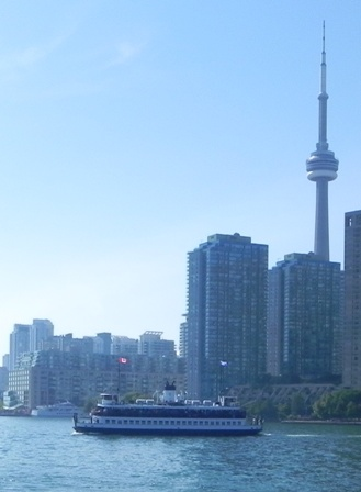 This is the regular passenger ferry to/from the Island parks, with the CN Tower in the background.