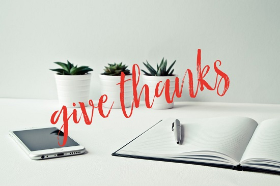"Desk with plants, smartphone, open notebook and the words ""Give thanks""."