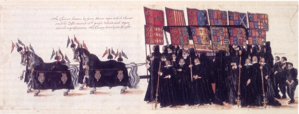 The Queen's casket surrounded by her ancestors' heraldic banners