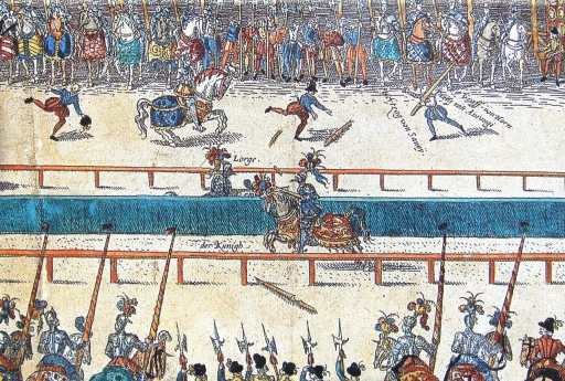 Henri II's fateful (fatal) joust against Lorges, from an anonymous 16th century German print (public domain via Wikimedia Commons)