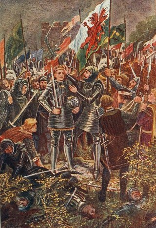 The Battle of Bosworth Field, by an unknown artist (public domain via Wikimedia commons)