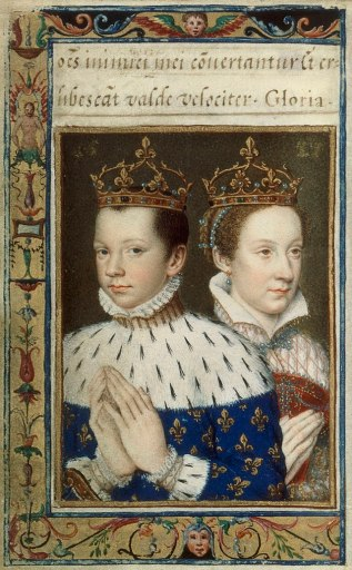 Francis II and Mary Stuart, after Francois Clouet.  Miniature from Catherine de' Medici'sBook of Hours