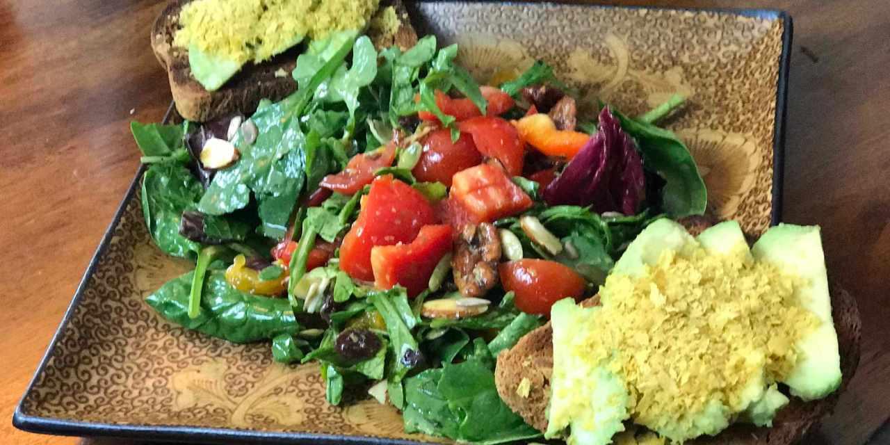 Main Course Salad with Avocado Toast