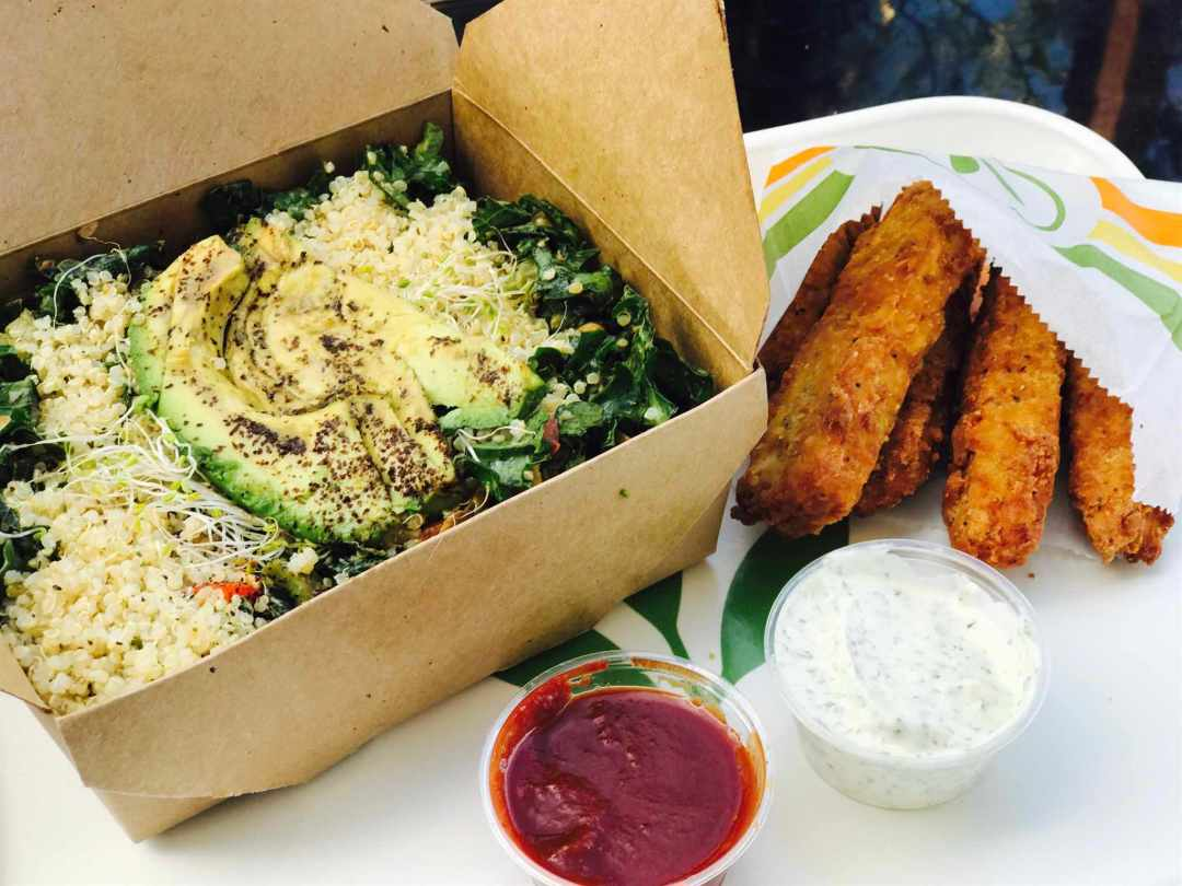 Kale Quinoa Plated with Chick'n Strips