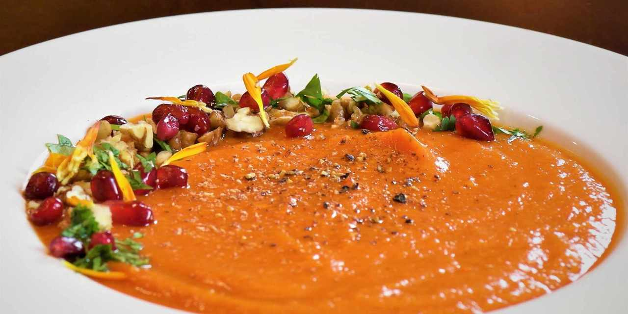 Soup's on! Roasted Red Pepper & Sweet Potato Soup from 40-Year-Old Vegan