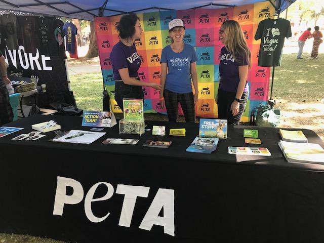 VegOut vegan fesitval Portland PETA booth seaworld sucks