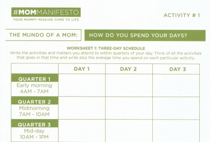Top half of  Activity 1 sheet for Mom Manifesto