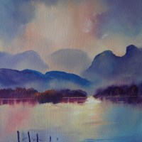 Langdales from Windermere Original Oil painting