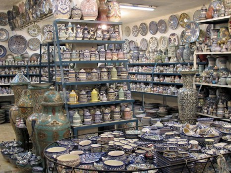 A partial view of the pottery's showroom