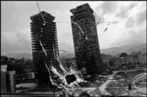 BOSNIA AND HERZEGOVINA. Sarajevo. 1993. View through a bullet-ridden hotel window.