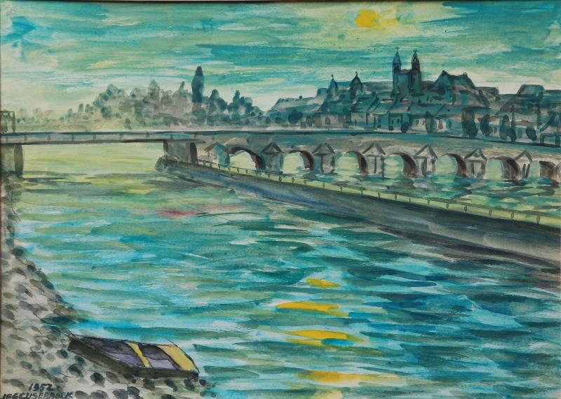 Maas en Maasbrug 1952 door Jan Geusebroek (260)