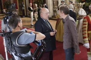 Julian Fellowes on the set of The Young Victoria