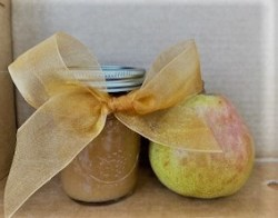 gift jar of pear butter with pear