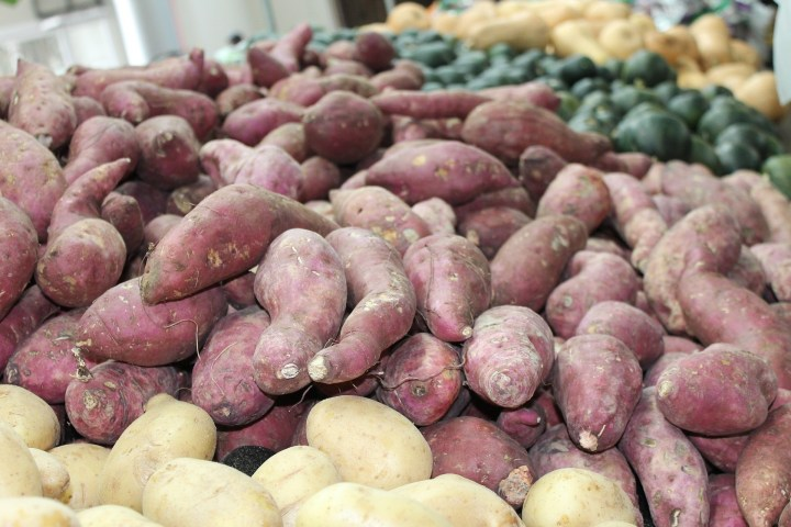 lots of potatoes, especially sweet potatoes