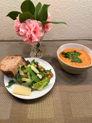 Farro soup with green salad