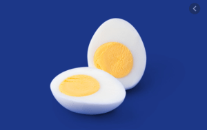 hard-boiled egg sliced in half