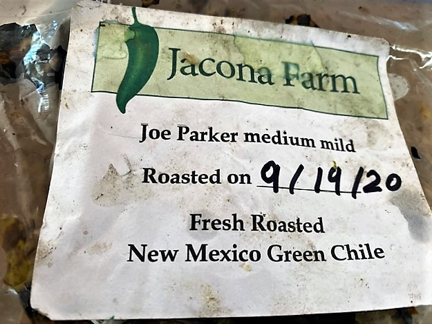 green chile label from local farm (for pork posole verde)