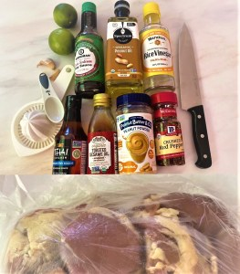 raw chicken thighs plus the soy sauce, peanut oil and powder, limes, vinegar, etc. needed to make the marinade