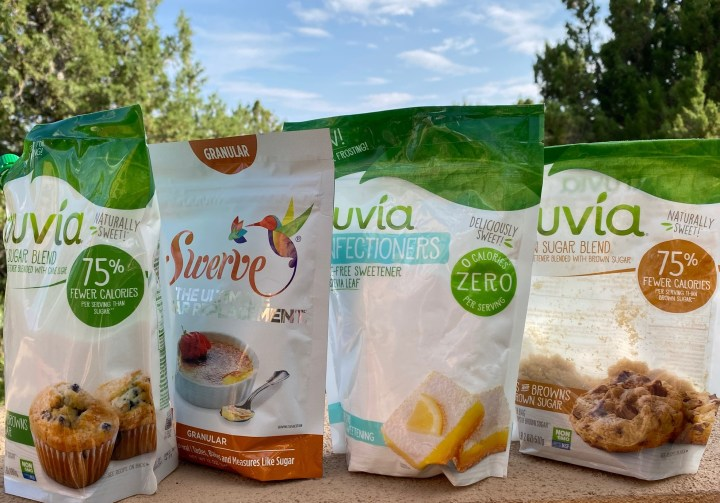 Truvia and Swerve packages of sweetener
