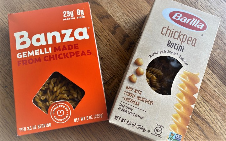Boxes of branded chickpea pasta for Creamy Coconut Chicken Curry