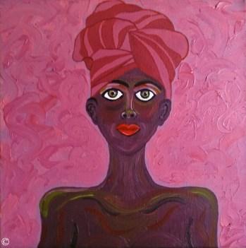 Artwork African American Women Woman Girl Girls Portraits Black People of Color Dukhu Head Wrap Turban Paintings Art Authentic Original Pink Purple