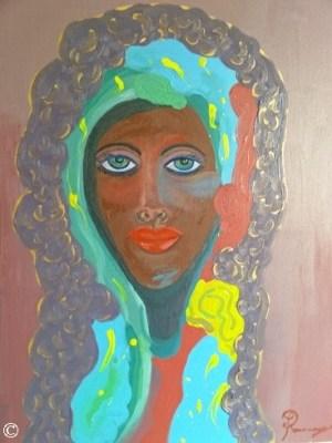 Artwork African American Women Woman Girl Girls Portraits Black People of Color Dukhu Head Wrap Turban Paintings Art Authentic Original Purple Blue Virgin Mary