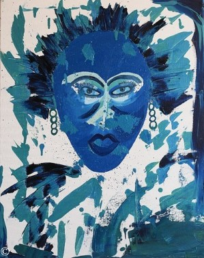 Authentic Original Artwork Abstract Face Faces Figurative Female Woman Women Painting Paintings Blue Green Teal Portraits Close-Up Head