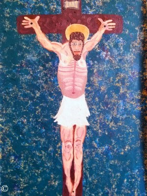 Jesus Christ on the Cross Crucifixtion Triumphant No Blood Artwork Art Painting Original Authentic Oil Painting
