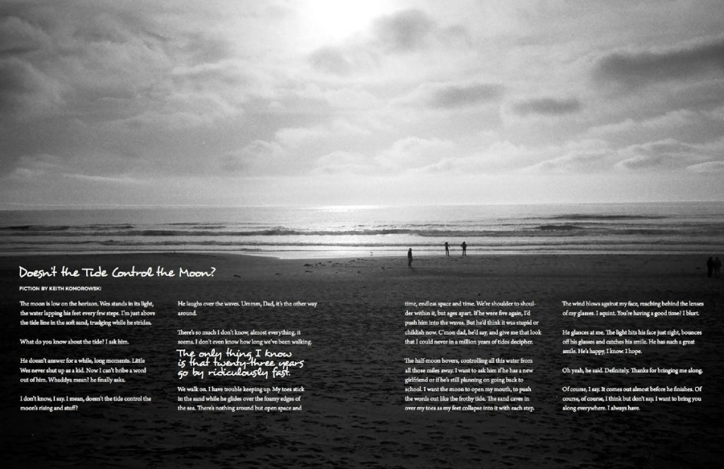 We fit a lot of content into the Relations issue. This photograph by editor-in-chief Sarah Gilbert, demanded (politely) to be spread out big in our pages. In order to make room for that and all of Ken Komorowski's text, I reversed out the text, added a thin black stroke for increased readability, and set it in the sand.