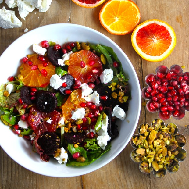 8 Beet, Tangerine and Blood Orange Salad with Goat Cheese, Pomegranate Seeds and Pistachios from Bourbon and Brown Sugar