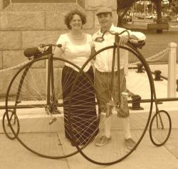 Janine and Clayton with their handmade bikes.
