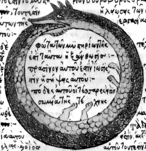 Drawing by Theodoros Pelecanos, in a 1478 copy of a lost alchemical tract by Synesius. Wikipedia.