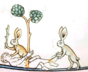 absurd medieval rabbits torture a man