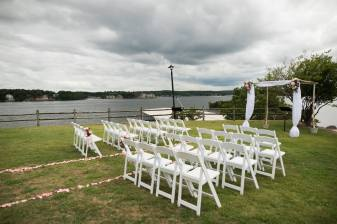 outdoor wedding lake of the ozarks, arbor rental, white chair rentals