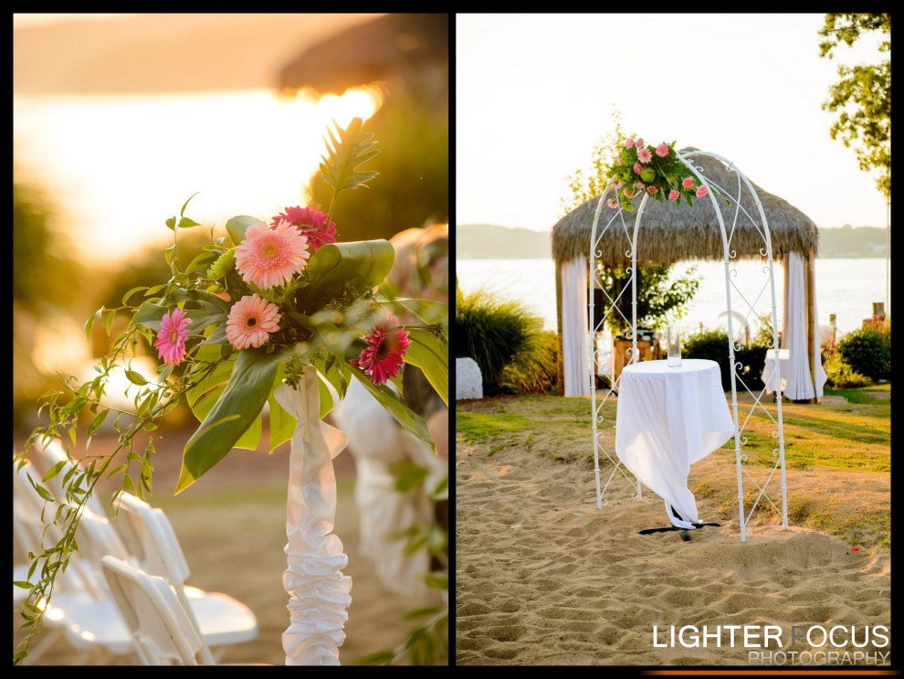lake wedding, lake of the ozarks, beach wedding, arbor, arbor rental, white arbor, fresh flowers, wedding flowers, lake of the ozarks, camdenton, osage beach, lake ozark,