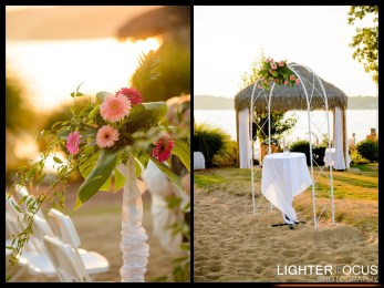 lake wedding, lake of the ozarks, beach wedding, arbor, arbor rental, white arbor, fresh flowers, wedding flowers, lake of the ozarks, camdenton, osage beach, lake ozark,