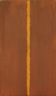 """1948. Oil on canvas and oil on masking tape on canvas. Newman proclaimed Onement I to be his artistic breakthrough, giving the work an importance belied by its modest size. This is the first time the artist used a vertical band to define the spatial structure of his work. This band, later dubbed a """"zip,"""" became N"""