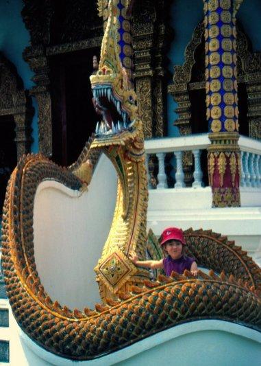 Węże (wpływ Indii) i smoki (wpływ Chin) strzegą wejść do świątyń, odstraszają złe duchy i demony.