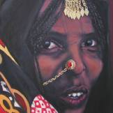 Afrikaans portret olieverf op katoen 40x50
