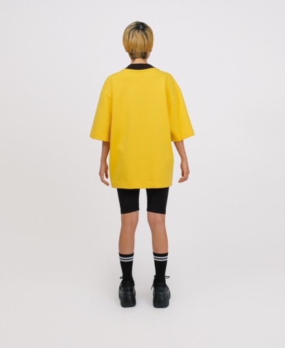 Yellow patchwork genderless sweatshirt