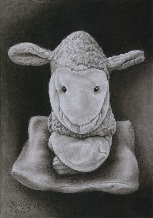 Schaf Kohlezeichnung, Kunst, Malerei Gemälde Painting