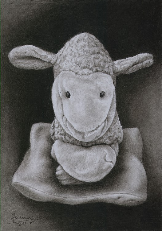 Schaf Kohlezeichnung Kunst Malerei Gemälde Painting