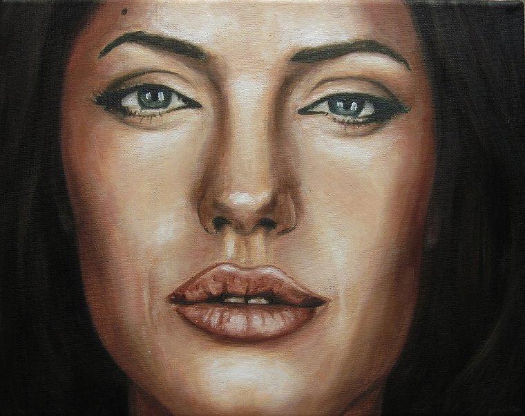 Angelina Jolie 2, Portrait Kunst Malerei Ölgemälde Painting