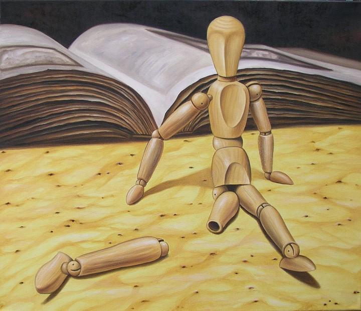Holzpuppe Öl Kunst Malerei Gemälde Painting